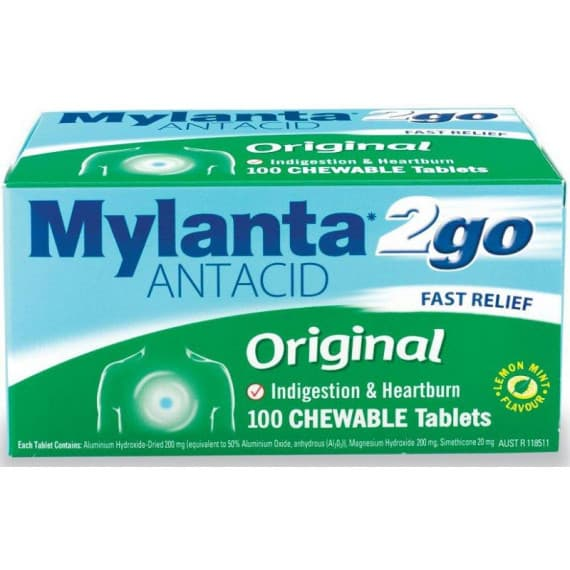 Mylanta 2go Original 100 Chewable Tablets