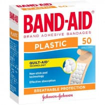 Band-Aid Plastic Adhesive Strips 50 Pack