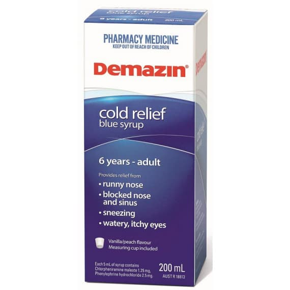 Demazin Cold Relief Blue Syrup 6 Years to Adult 200ml