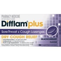 Difflam Plus Sore Throat + Cough Lozenges Blackcurrant 24 Lozenges