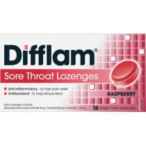 Difflam Sore Throat Lozenges Raspberry 16 Lozenges