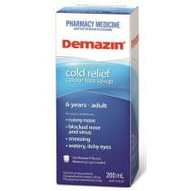 Demazin PE Cold Relief Clear Syrup 6 Years to Adult 200ml
