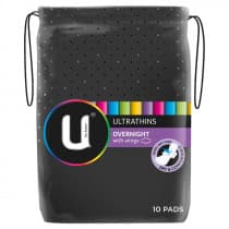 U By Kotex Overnight Wing Ultrathins 10 Pack