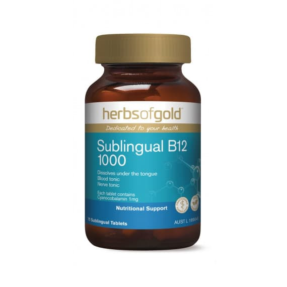 Herbs of Gold Sublingual B12 1000 75 Tablets