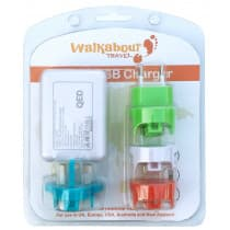 Walkabout Travel USB Travel Adapter Charger 4 Country