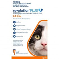 Revolution Plus for Medium Cats 2.6 - 5kg Orange 3 Pack
