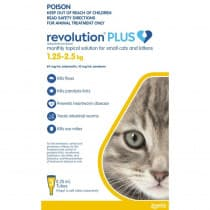 Revolution Plus for Small Cats 1.25 - 2.5kg Yellow 3 Pack