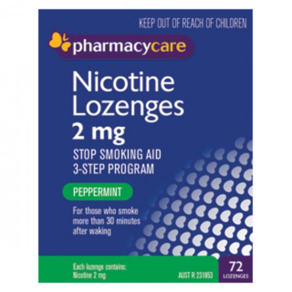 Pharmacy Care Nicotine Lozenges 2mg Peppermint 72 Pack
