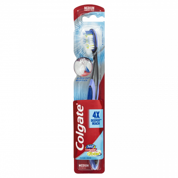 Colgate Total 360° Floss Tip Bristles Medium Toothbrush 1 Pack