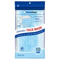 Swisscare Disposable Face Mask With Earloop 3 Ply 10 Pack