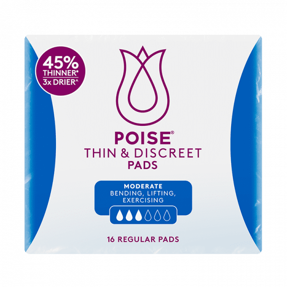 Poise Pads Thin & Discreet Regular Pads 16 Pack