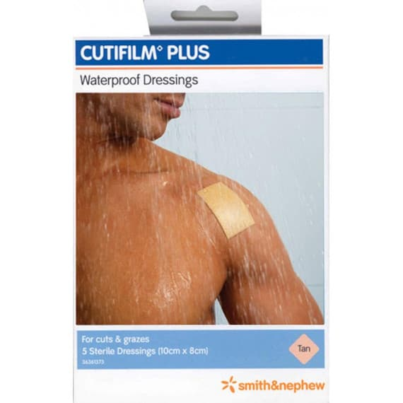 Cutifilm Plus Waterproof Dressings Tan 10cm x 8cm 5 Pack