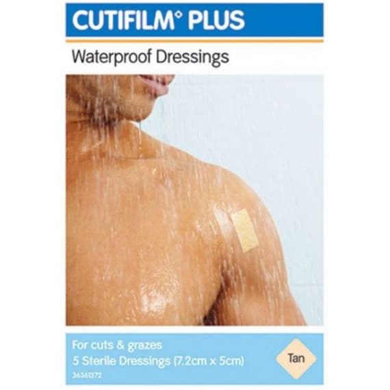 Cutifilm Plus Waterproof Dressings Tan 7.2cm x 5cm 5 Pack