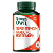 Natures Own Triple Strength Garlic Plus C Horseradish 100 Tablets