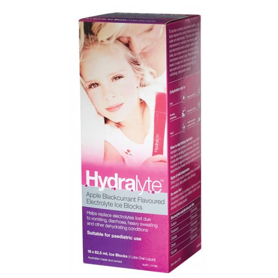 Hydralyte Electrolyte Ice Blocks Apple Blackcurrant 16 x 62.5ml Packs