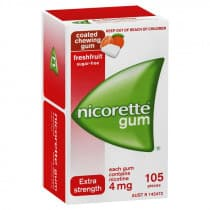 Nicorette Nicotine Gum Fresh Fruit 4mg 105 Pieces