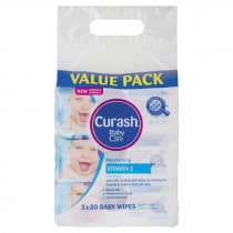 Curash Babycare Vitamin E Baby Wipes 3 x 80 Pack