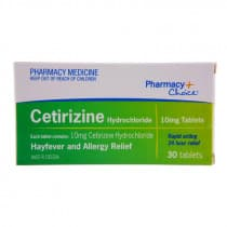 Pharmacy Choice Cetirizine Hayfever & Allergy 30 Tablets