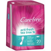 Carefree Acti Fresh Tea Tree Liners 20 Pack