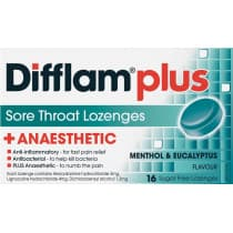 Difflam Plus Sore Throat Lozenges + Anaesthetic Menthol & Eucalyptus 16 Lozenges