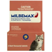 Milbemax Broad Spectrum Allwormer For Small Cats 0.5-2kg 2 Tablets