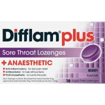 Difflam Plus Sore Throat Lozenges + Anaesthetic Berry 16 Lozenges