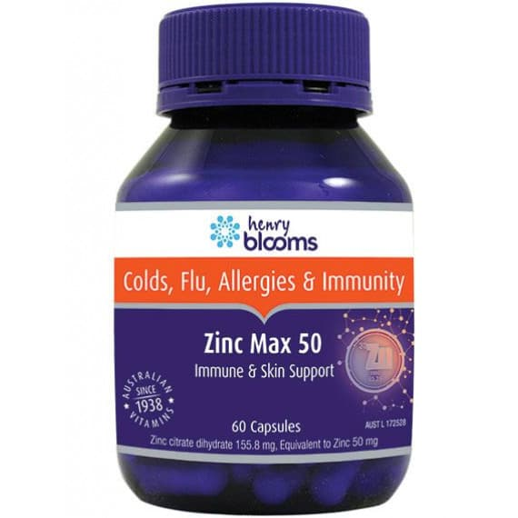 Henry Blooms Zinc Max 50mg 60 Capsules