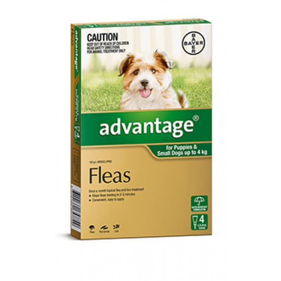 Advantage Dog 0-4kg Small Green 4 Pack