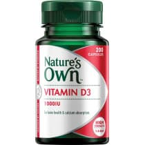 Natures Own Vitamin D3 1000IU 200 Capsules