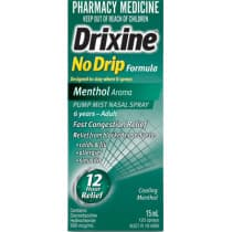 Drixine Menthol No Drip Nasal Spray 15ml