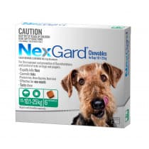 Nexgard Chewables for Medium Dogs 10.1 - 25kg Green 6 Pack