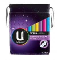 U By Kotex Overnight Wing Extra Pads 10 Pack