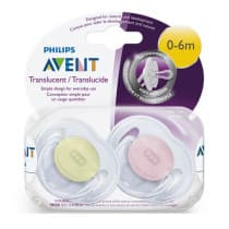 Avent Classic Translucent Soother 0-6m+ 2 Pack
