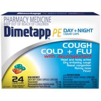 Dimetapp PE Day & Night Cough Cold & Flu 24 Liquid Capsules