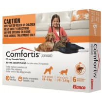 Comfortis Chewable Tablets Orange 4.6kg to 9kg 6 Tablets