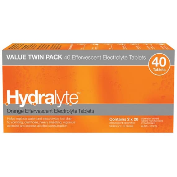 Hydralyte Effervescent Electrolyte Orange 40 Tablets