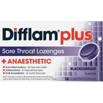 Difflam Plus Sore Throat Lozenges + Anaesthetic Blackcurrant 16 Lozenges