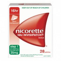 Nicorette Nicotine Patch 16hr Invisipatch Step 1 25mg 28 Patches
