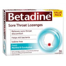 Betadine Sore Throat Lozenges Menthol & Eucalyptus 36 Pack