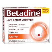 Betadine Sore Throat Lozenges Orange 36 Pack
