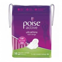 Poise Active Ultrathin With Wings Regular 14 Pack