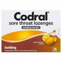 Codral Sore Throat Lozenges Honey & Lemon 16 Lozenges