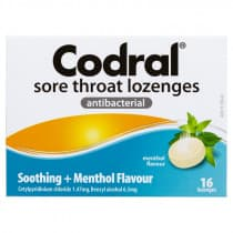Codral Sore Throat Lozenges Menthol 16 Lozenges