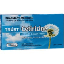 Trust Cetirizine 10mg 10 Tablets