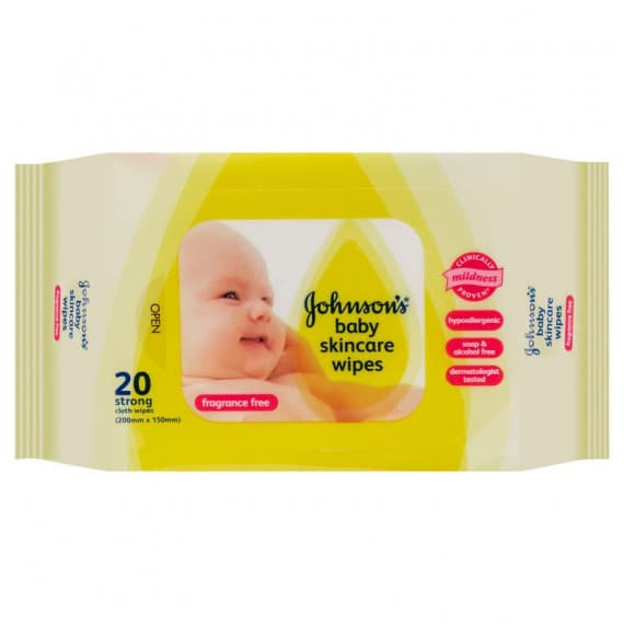 Johnsons Baby Skincare Wipes Fragrance Free 20 Wipes