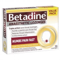 Betadine Anaesthetic Honey & Lemon 36 Lozenges
