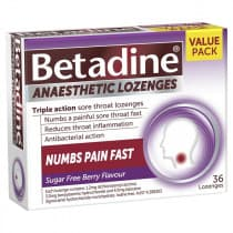 Betadine Anaesthetic Lozenges Berry 36 Pack