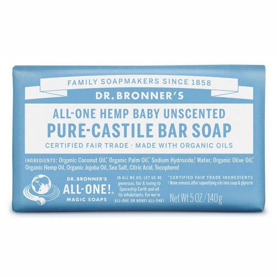 Buy Dr Bronners Pure Castile Baby Bar Soap Unscented 140g