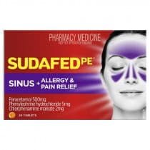 Sudafed PE Sinus Allergy & Pain 24 Tablets