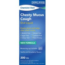 Chemists Own Chesty Mucus Cough Liquid 200ml
